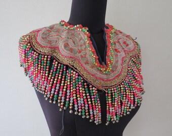 Vintage Hmong shirt collar Handmade Fabric, handmade tapestry textiles, hill tribal fabric