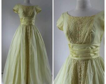 1960s, 1970s, Formal Yellow Dress, Prom Dress, Full Length Formal Dress