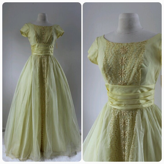 1960s 1970s formal yellow dress prom dress by