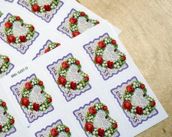 50 pieces - 1999 55 Victorian Love stamps - heart shaped wreath - great for valentines, wedding invitations, save the dates