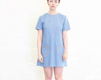 Mod Dolly Margot Denim Shift Dress