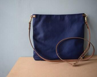Leather Crossbody Bag -  FLOTTA - Cobalt Blue -  Adjustable Shoulder Messenger Bag Purse by Holm