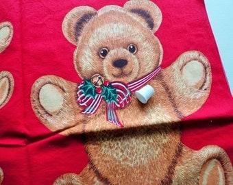 christmas bear applique print cotton fabric craft panel
