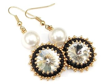 Earrings, Beaded Swarovski Crystal with White Pearl, Beaded Black Statement Earrings