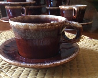 Hull Pottery Brown Drip  Mugs, O Ring Handle, Crestone Oven Proof 1970s