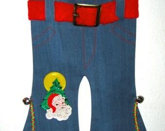 Vintage 60s jeans Christmas stocking decoration hip huggers