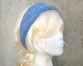Blue Tie Back Headband, Cotton Knit, Bandana, Lace Flowers, Women & Teen Girls