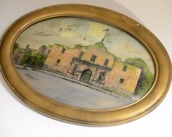 Painting of the Alamo Painted on the Inside of Oval Glass (Copyright Chicago..)