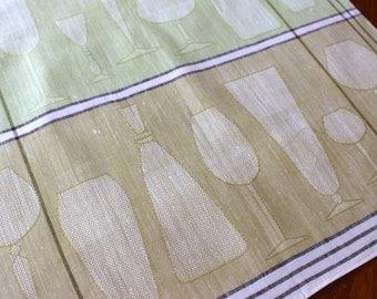 Vintage Linen Towel Show Damask Danish Modern Barware Unused 1950s