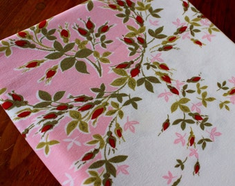 Vintage Linen Tablecloth Cotton Pink Red Olive White Floral Roses Table Cloth Printed Mid Century