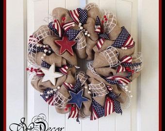Patriotic Wreath - Americana Wreath - 4th of July Wreath - Red White Blue Burlap Star Wreath - Burlap Berries Wreath