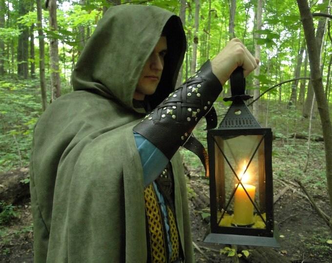 Renaissance Cape, Medieval Cloak, Hood, Viking, Ranger, Fellowship Green