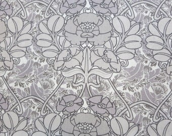 LIBERTY Of LONDON Tana Lawn Cotton Fabric  'Jugendstil' Mauve/Gray Art Deco Lg Fat Quarter 18X26 in