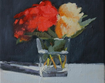 SPRING SALE Original Oil Painting on Canvas, Still life with flowers, 10x10 inch Canadian Fine Art Wall Decor