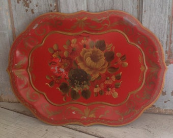 Vintage chippy red toleware tray, hand painted, flowers