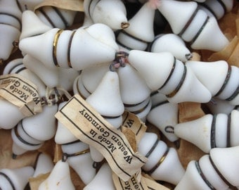 Lot of 5 - Vintage Glass Beads - West German white glass beads - old glass bead jewelry supply - fancy glass beads - antique glass beads
