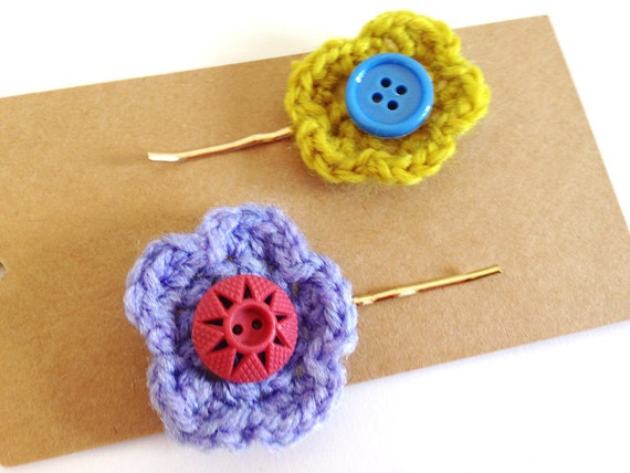 Purple and Green Crochet Flower Hair Grips by BECKABONCE on Etsy