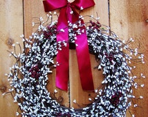 LARGE Spring Wreath-Spring Home Decor-Front Door Wreath-Summer Wreath-Spring Summer Door Decor-CRANBERRY WHITE Berry Door Wreath-Wreaths