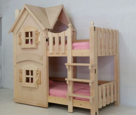 Dollhouse bunk bed by imaginethatplayhouse on etsy for Dollhouse loft bed plans