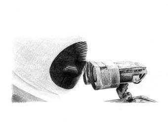 WALL E and EVE KISSING pencil drawing