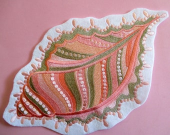 Jumbo Embroidered Applique, Ornate Sea Shell. Peach Tones, Neutral Colors, Quilts, Pillows, Totes, Beach Bags, Beach Cottage Decor, Sew On