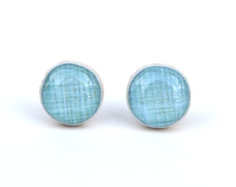 Duck Egg Blue Stud Earrings, Blue Post Earrings, Blue Studs. Eco Friendly Jewelry, Wood Earrings, minimalist jewelry