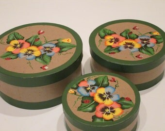 3 Handpainted Nesting Boxes with Pansies and Ladybugs.
