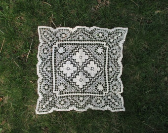 Vintage Doily Handmade Cotton Square Beautiful