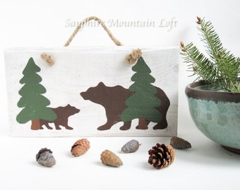 Bear Sign, Handmade Rustic Wildlife Sign, Mom and Bear Cub, Pine Trees, Hand-Painted Silhouettes, Forest Green, Brown, White, Montana Made