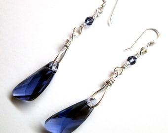 Swarovski Crystal Tanzanite Wing Sterling Silver Earrings