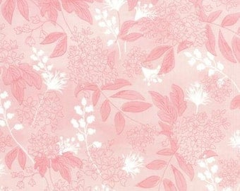 Basicgrey Fresh Cut for Moda - Floral Bluebell Boutique - Pink - Pink Flambe - 1/2 yard cotton quilt fabric 516