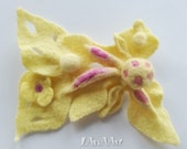 Yellow Fairy of flowers - handmade felted brooch - scarf pin fastener - lemon yellow and pink - shibori technique - unique, one of a kind