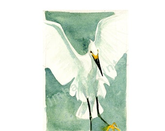 Watercolor Egret, Egret Print