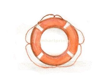 Watercolor Life Ring, Life Ring Print, Orange Life Ring Print