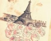 Paris, Je T'aime Watercolor Sketch