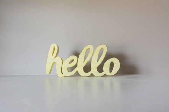 Hello Sign, Wooden hello, Welcome Sign, Greeting