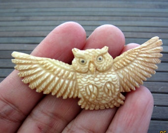 Gorgeous   hand carved  Flying Owl cabochon, Bone carving , Jewelry making Supplies S5272