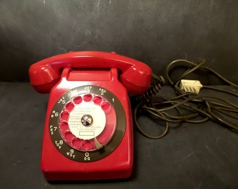 """Vintage French phone Red and Khaki with the """"Mother-in Law"""" listener. French Phone 1980s"""