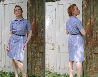 Periwinkle Blue Collared Dress: Stripe Button Up Knee Length