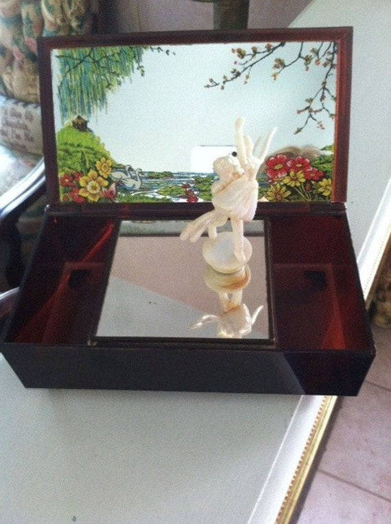 1970's Vintage Yap's Hong Kong Music Box with Dancer Holding Ballerina and Flowers on Mirrored Top ~ Tortoise Brown -- FREE SHIPPING USA