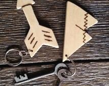 Mountain & Arrow Wood Keychain Handmade Keychain