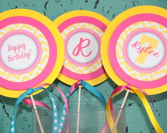GIRLY CHEVRON Birthday or Baby Shower 3 Piece Centerpiece - Party Packs Available