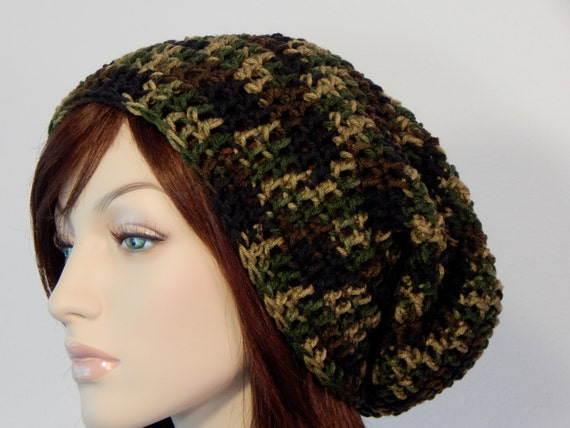 Crochet PATTERN PDF, The Camo Slouch Beanie, Winter Slouchy Hat, Ladies Crochet Hat Pattern, Teen Hats, Crochet Hats, MarlowsGiftCottage