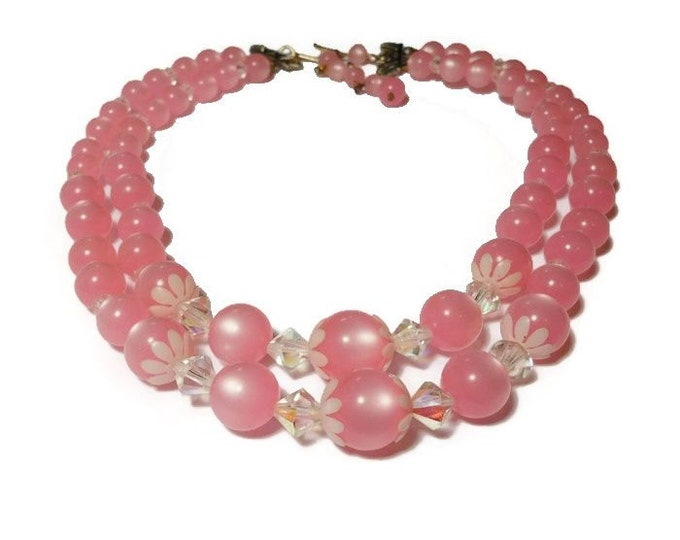 Pink pearl choker, or child's necklace, pink acrylic graduated beads with white daisy end caps, double strand, interspersed with crystals