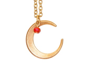 Vintage Brass Crescent Moon Pendant Necklace with Ruby Glass Bead