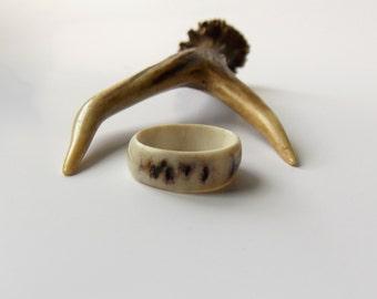 Unisex antler jewelry, Deer Antler Ring, Rustic Wedding Band, Very fine band, white, Tribal, Eco friendly, Natural, handmade by MariyaArts