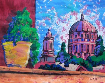 "SALE Original painting of Mexican church towers representing Colonial architecture in small town  19.5""x 25.5"" acrylic on paper"