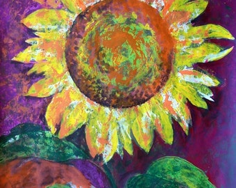 "SALE Sunflower original painting acrylic on paper 19.5 "" x 25.5"" yellow purple green"