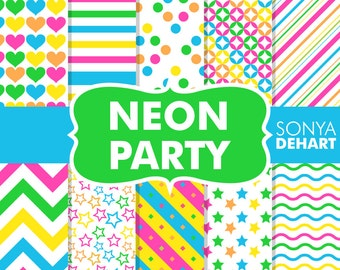 80% OFF Sale Neon Party Digital Paper Pack Bright Scrapbook Backgrounds DP129
