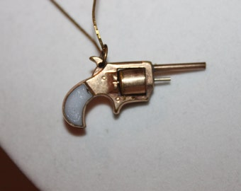 1950's Revolver Pendant Necklace- FREE SHIPPING